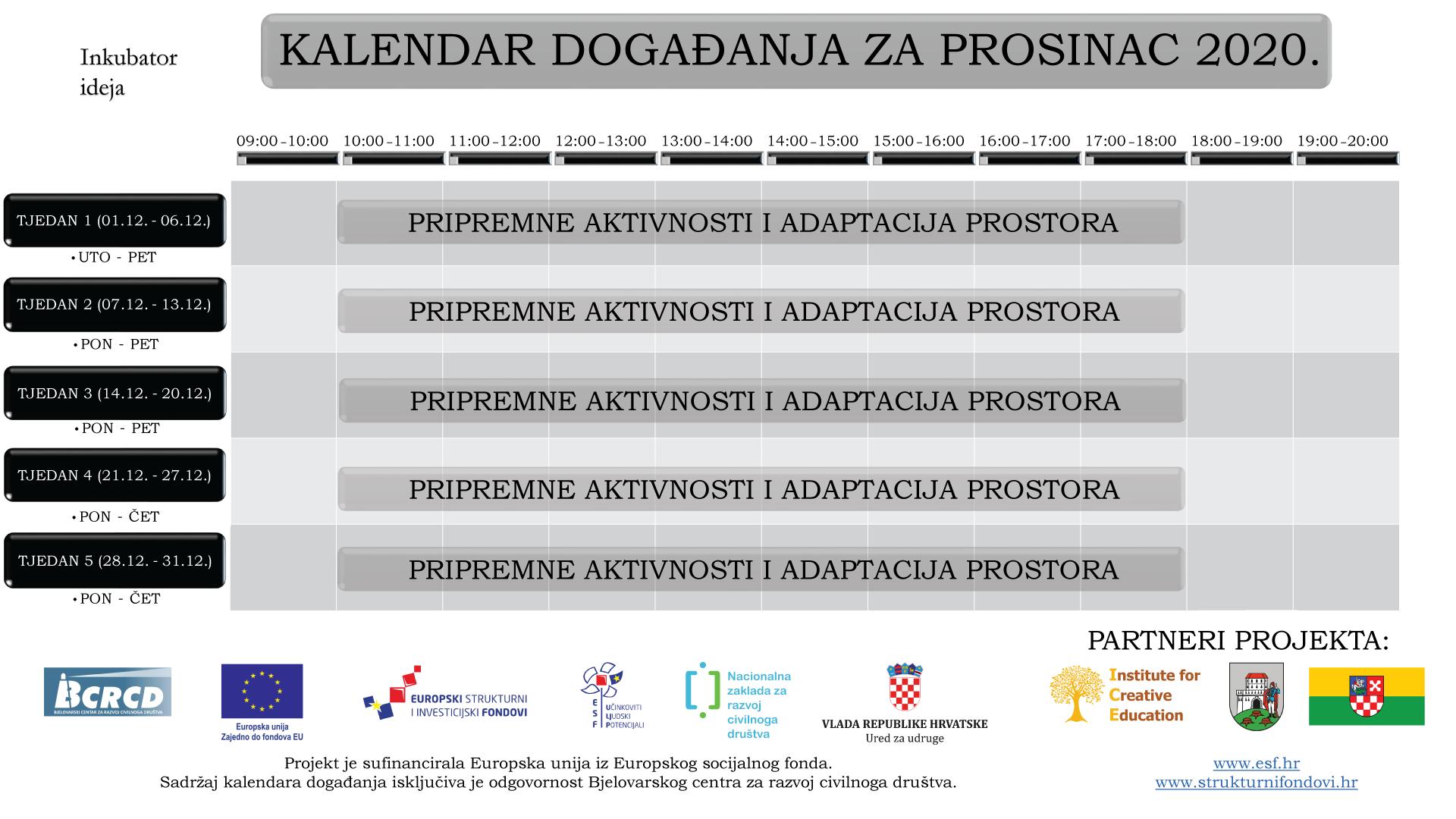 Kalendar događanja za prosinac 2020.