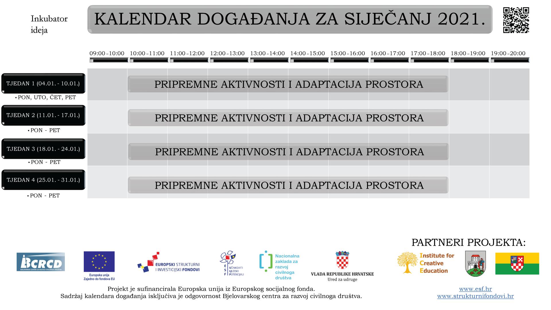 Kalendar događanja za siječanj 2021.