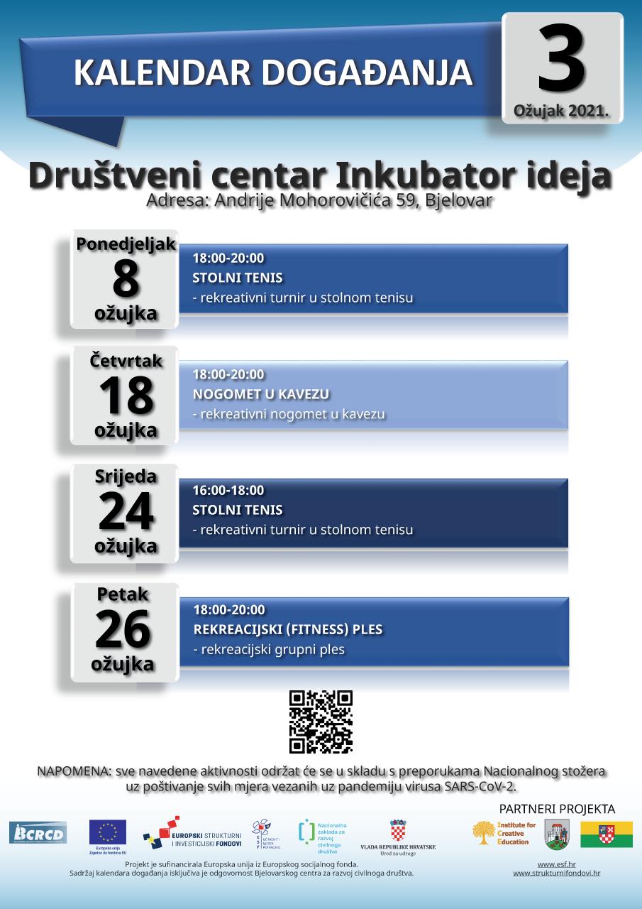 Kalendar događanja za ožujak 2021.